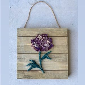 Handcrafted Peony & Copper Wall Decor